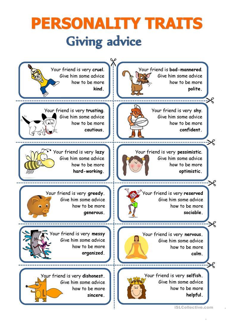 Character Traits Worksheet Pdf Personality Traits Giving Advice English Esl Worksheets