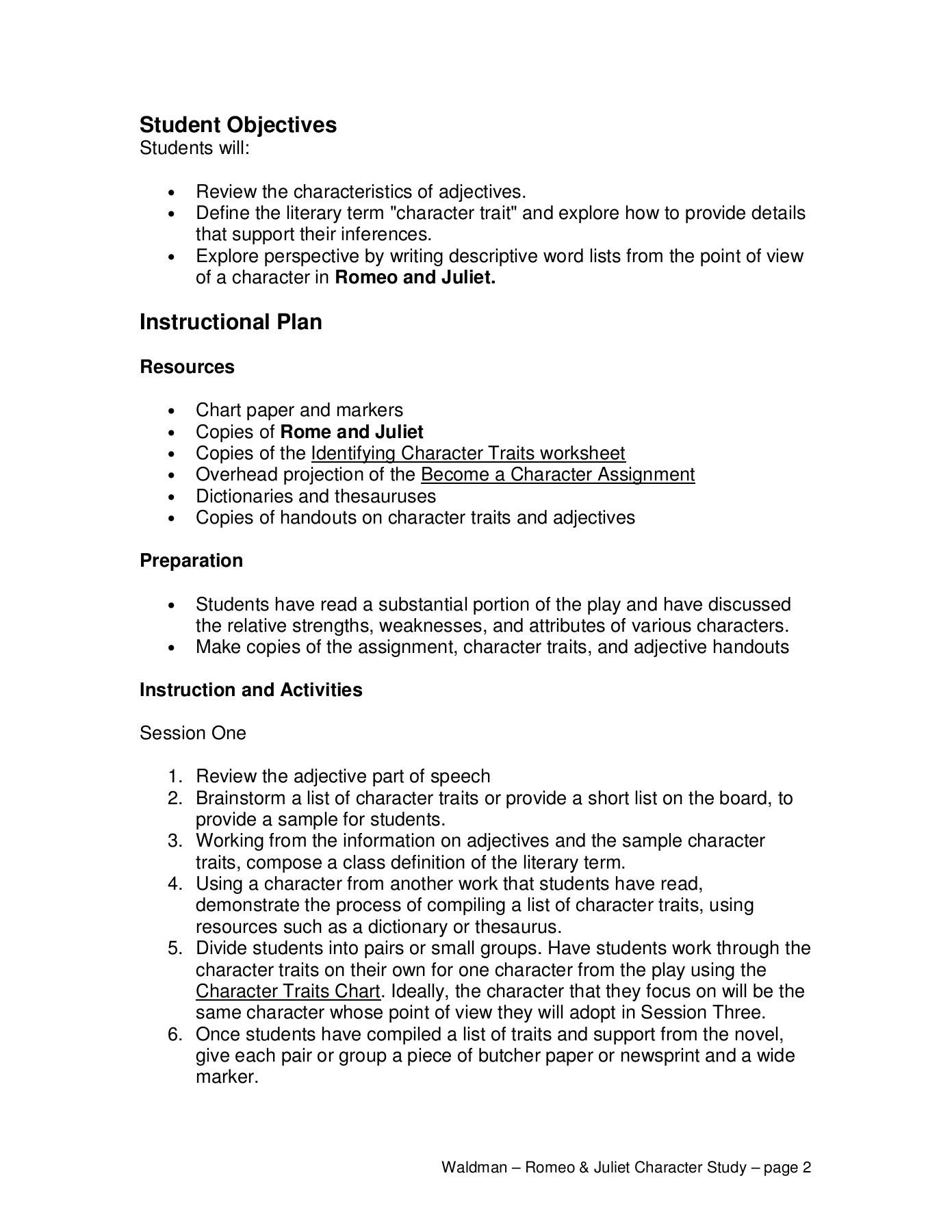 Character Traits Worksheet Pdf Romeo and Juliet Character Traits Marsha Waldman Pages 1