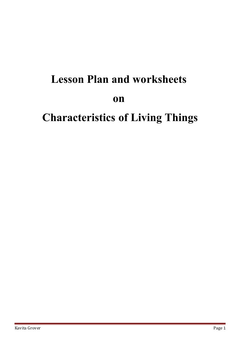 Characteristics Of Life Worksheet Lesson Plan and Worksheets On Characteristics Of Living Lhings