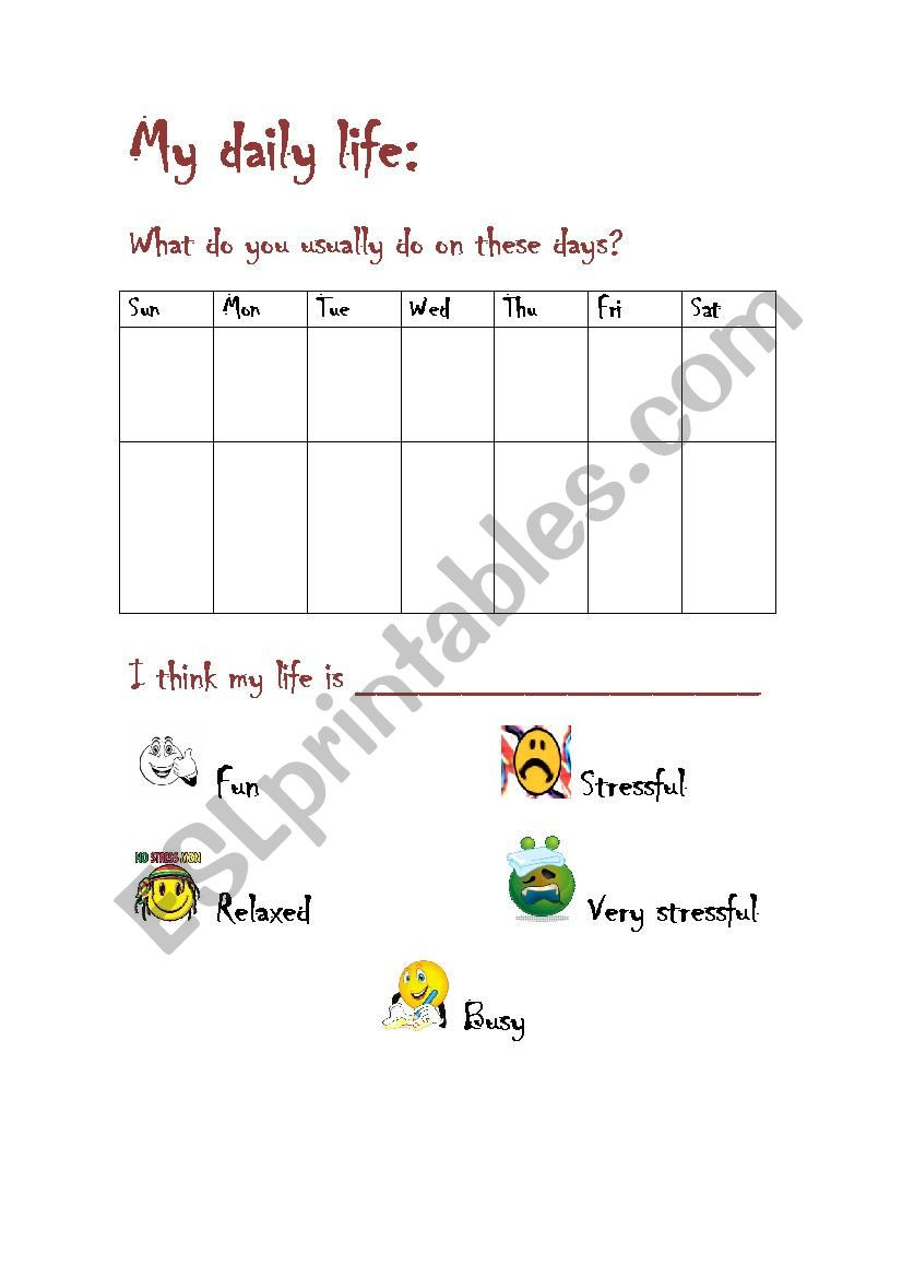 Characteristics Of Life Worksheet My Daily Life Characteristics Esl Worksheet by Genio