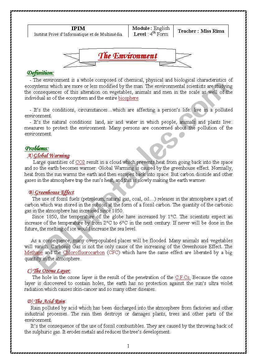 Characteristics Of Life Worksheet the Environment Esl Worksheet by Ramrouma26 10