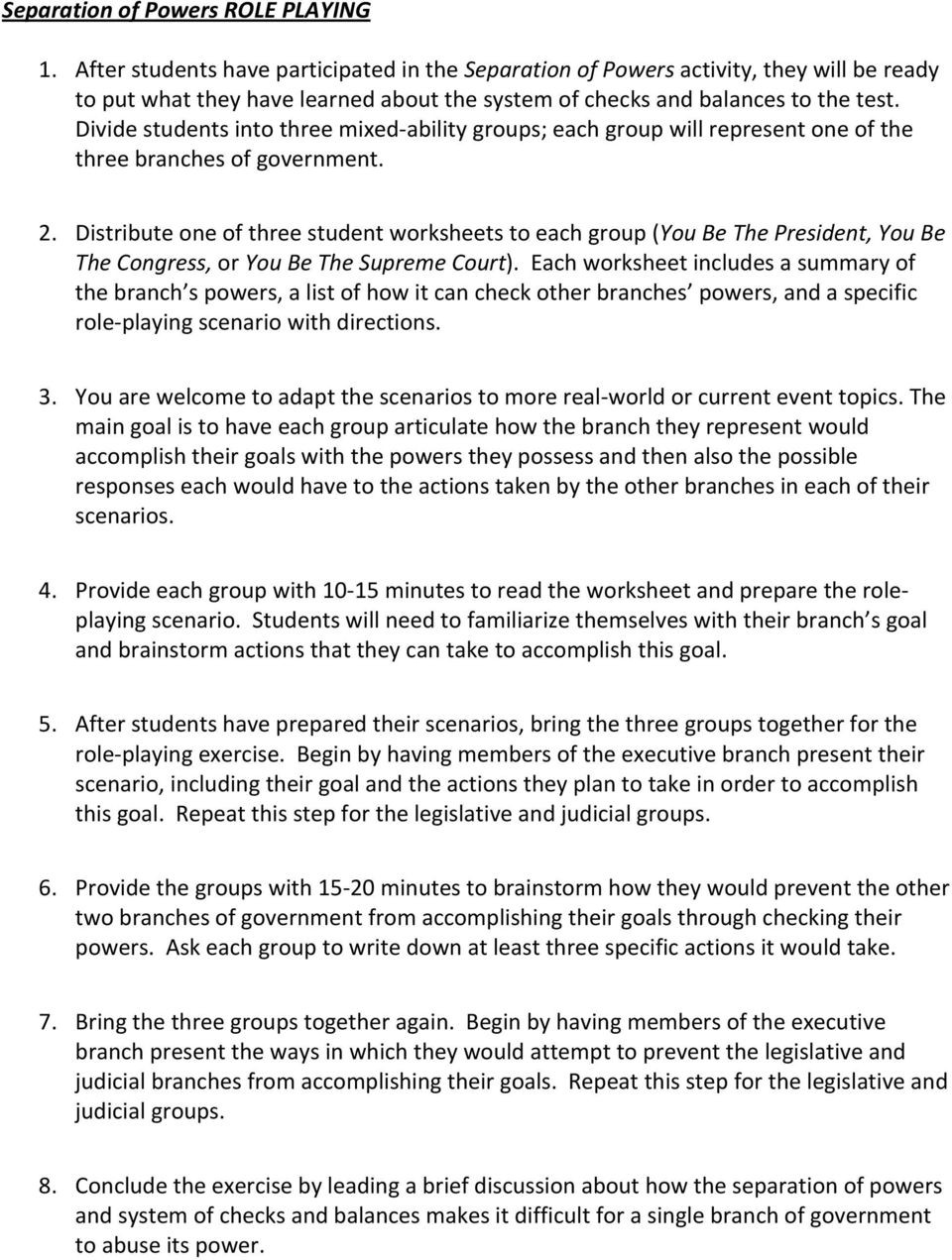 Checks and Balances Worksheet Answers Activity Separation Of Powers who S Got the Power Pdf