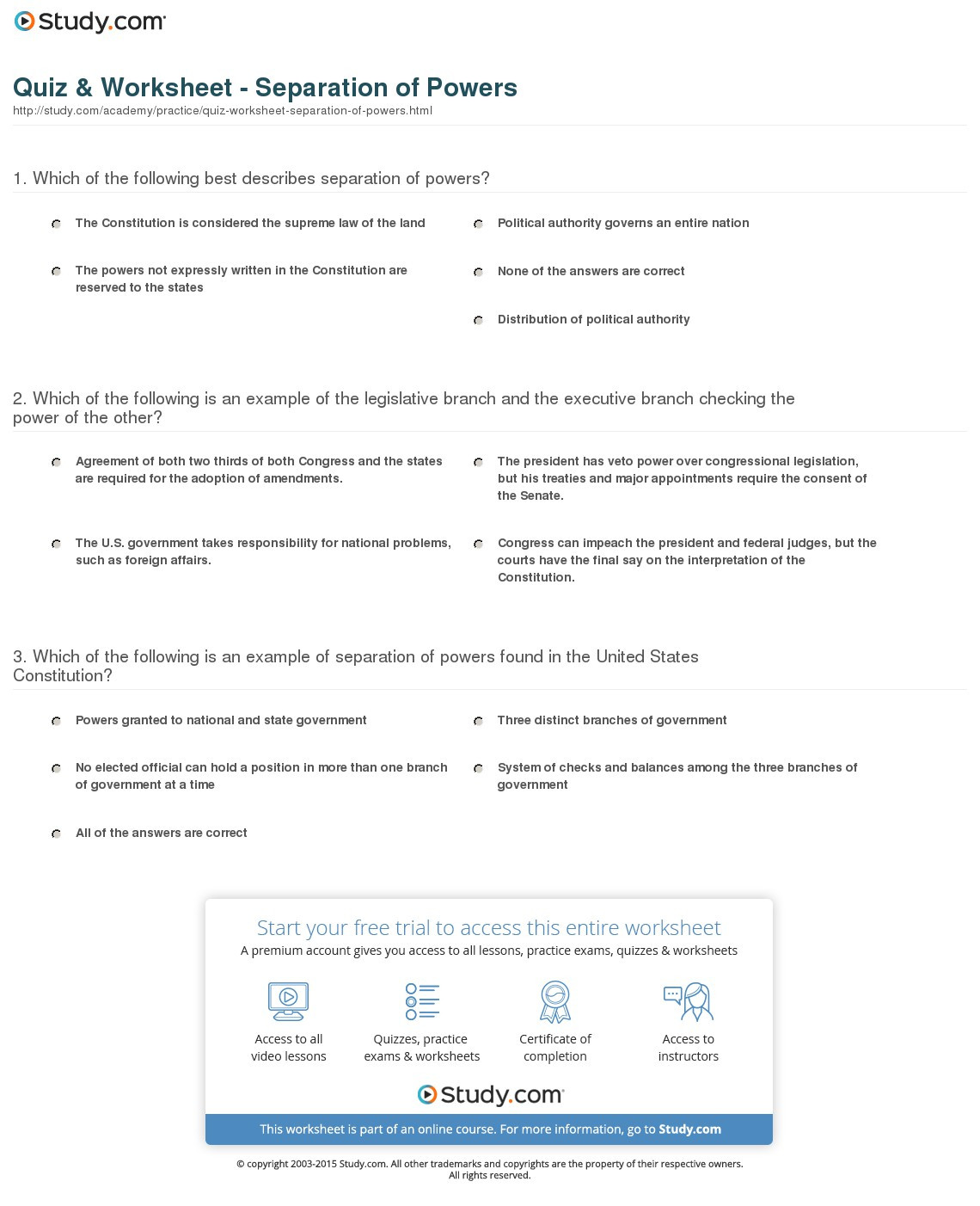 Checks and Balances Worksheet Answers Checks and Balamces Worksheet