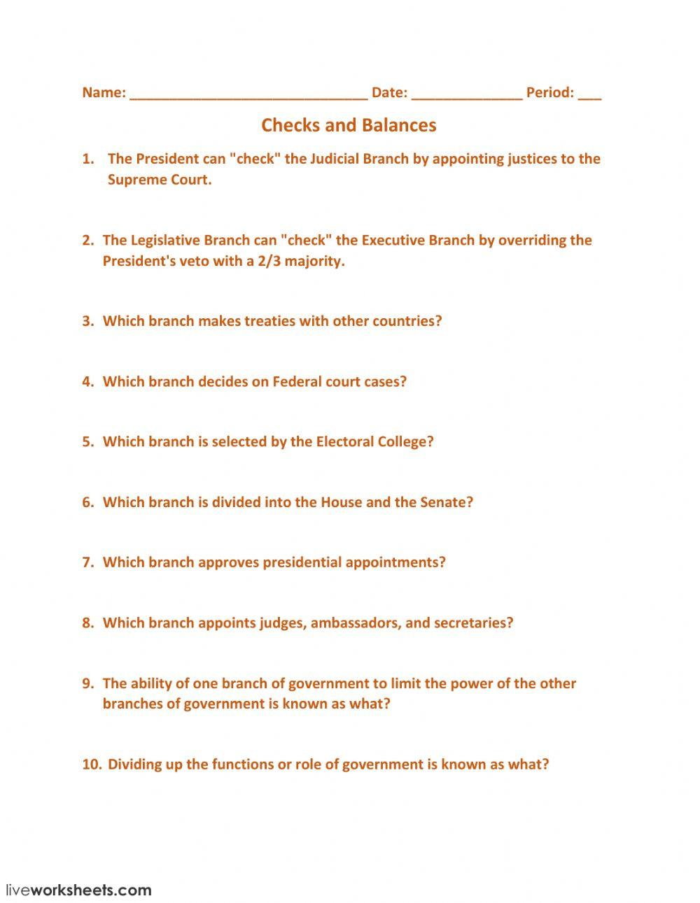 Checks and Balances Worksheet Answers Checks and Balances Interactive Worksheet