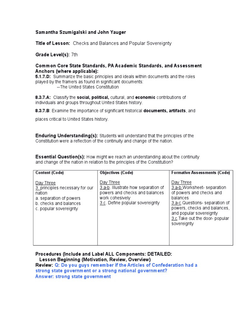Checks and Balances Worksheet Answers Day 3 Lesson Plan United States Congress