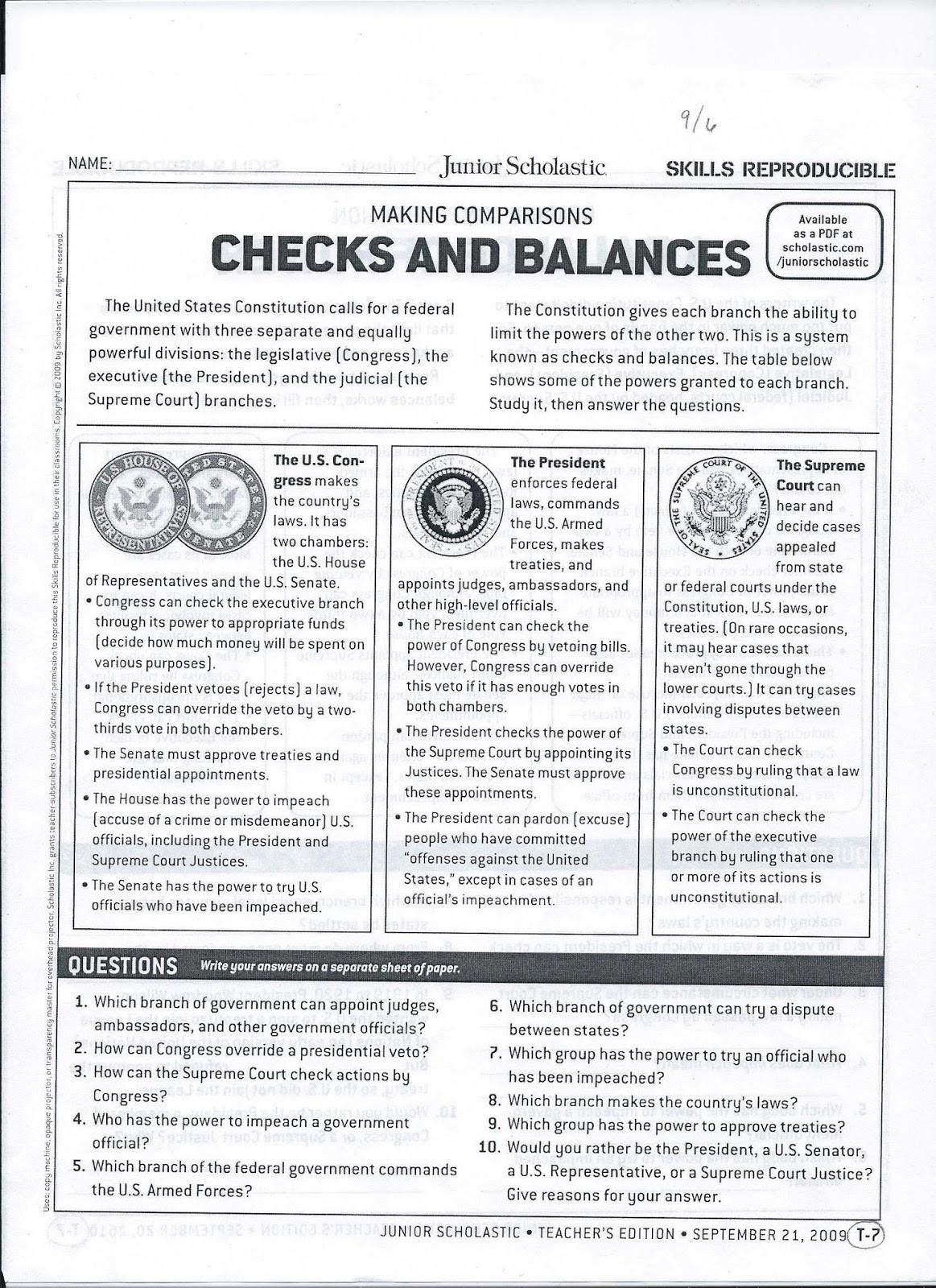 Checks and Balances Worksheet Answers Gms 6th Grade social Stu S Checks and Balances