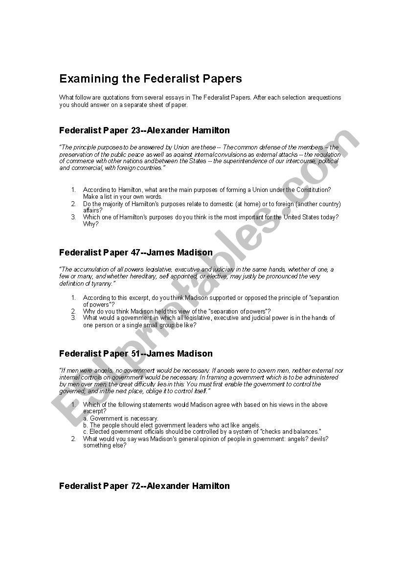 Checks and Balances Worksheet Answers Worksheet Examining the Federalist Papers Esl Worksheet