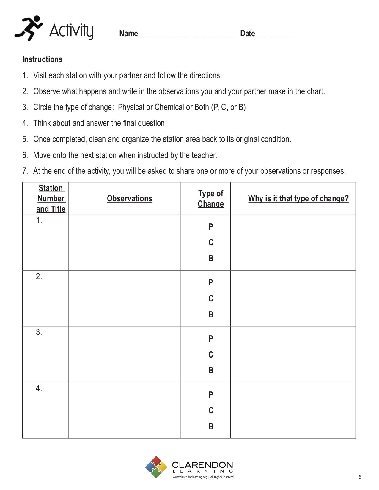Chemical and Physical Change Worksheet Physical Chemical Changes