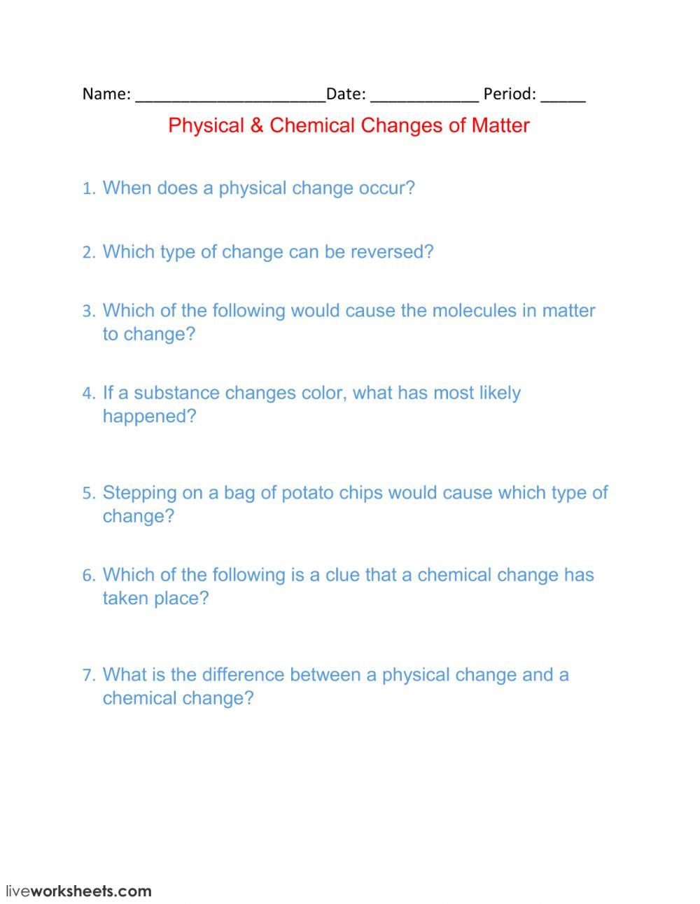 Chemical and Physical Change Worksheet Physical Chemical Changes Of Matter Interactive Worksheet