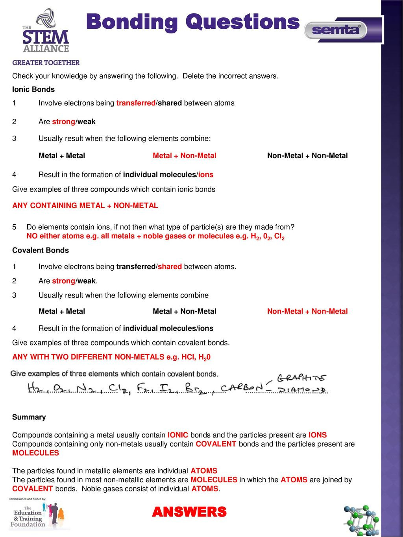 Chemical Bonding Worksheet Key as Level Chemistry Bonding Ppt