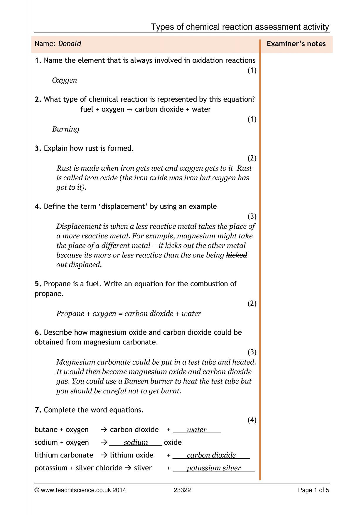 Chemical Reaction Type Worksheet Types Of Chemical Reaction assessment Activity
