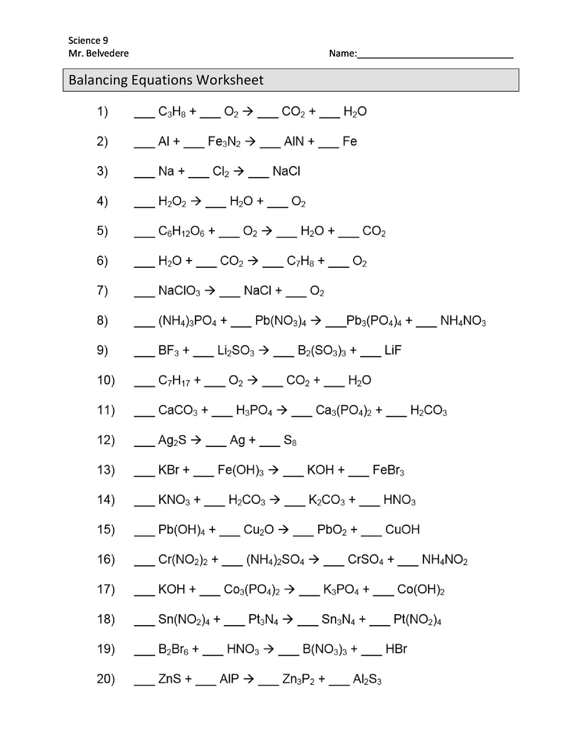 Chemistry Review Worksheet Answers Balancing Chemical Equations Worksheets with Answers