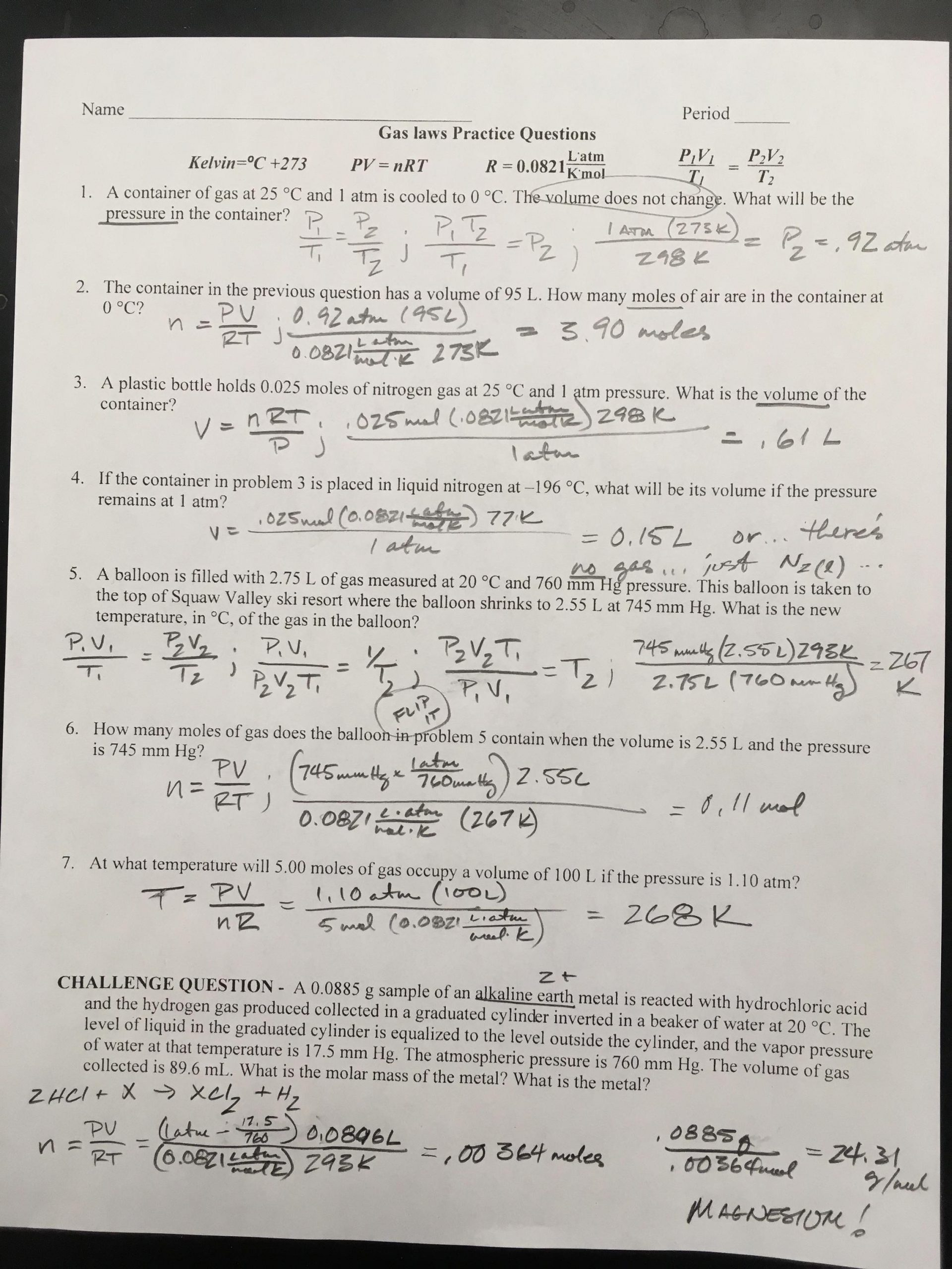 Chemistry Review Worksheet Answers Foothill High School