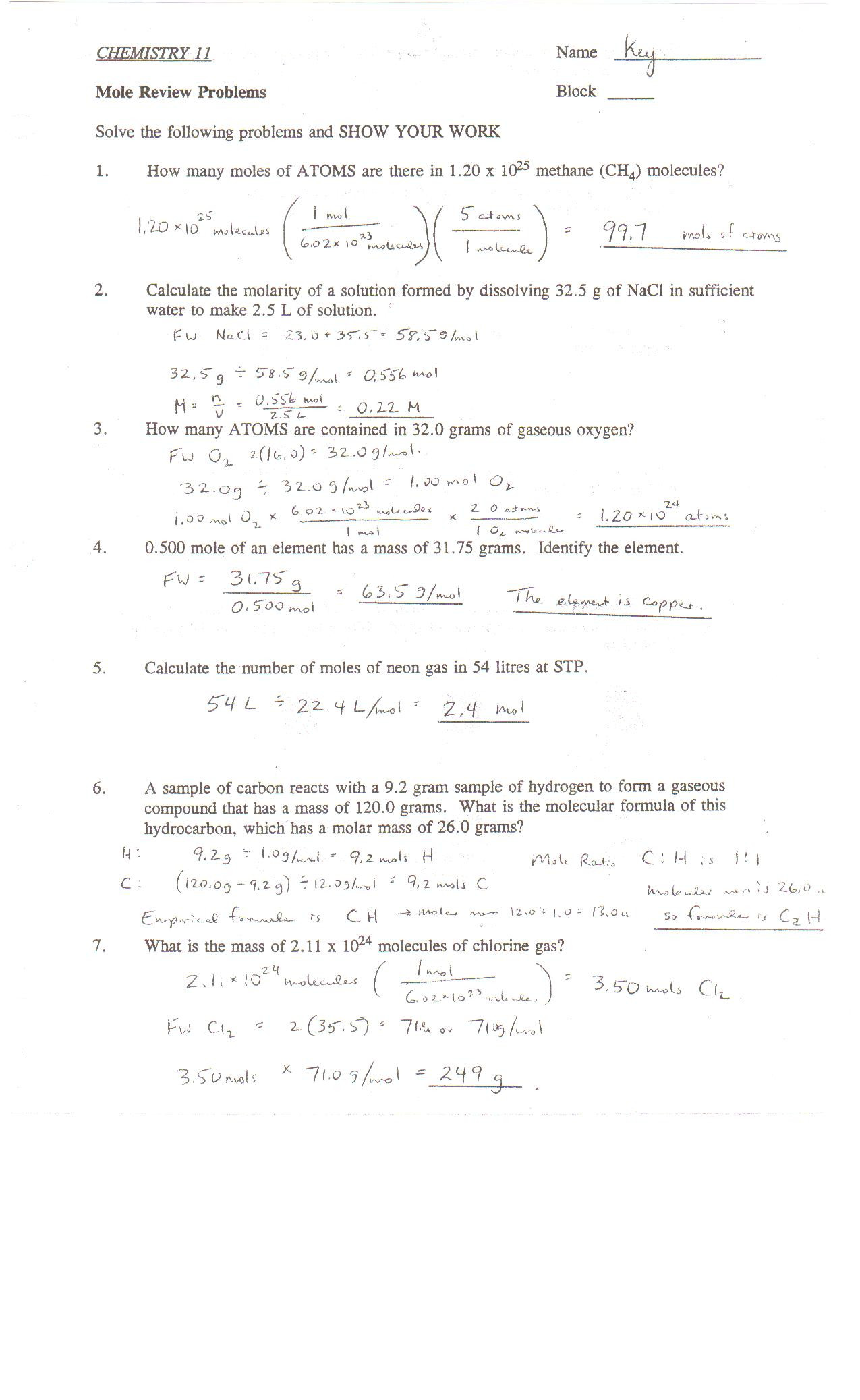 Chemistry Review Worksheet Answers Point Grey Secondary School