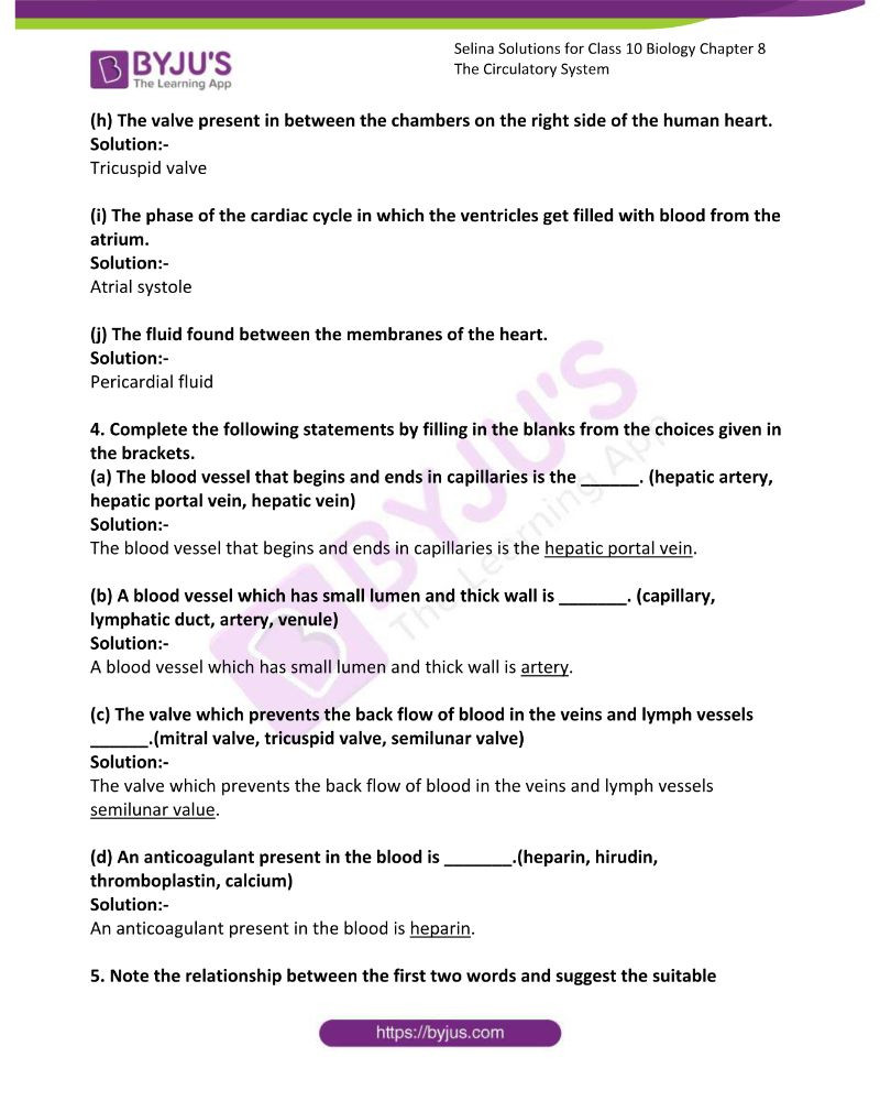 Circulatory System Worksheet Pdf Selina solutions Concise Biology Class 10 Chapter 8 the