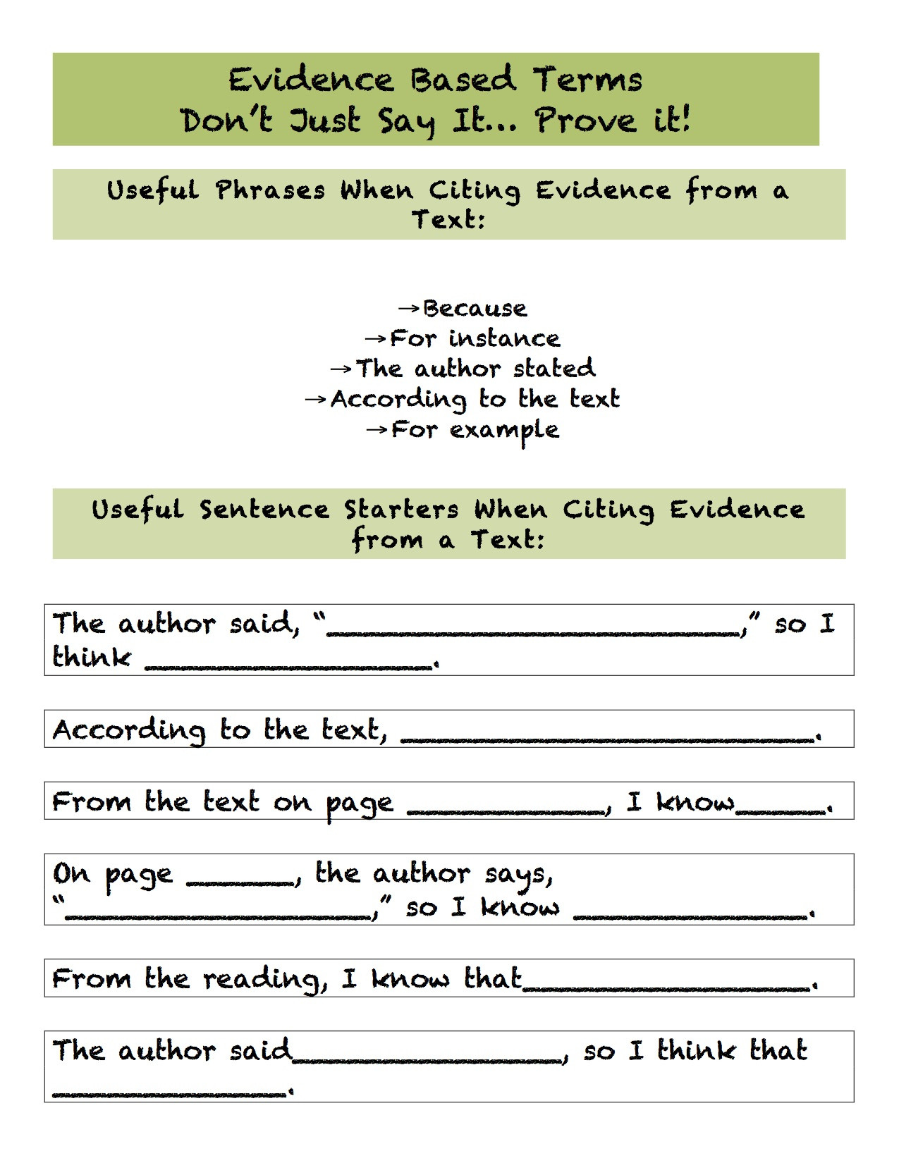 Citing Textual Evidence Worksheet Citing Text Evidence Worksheet
