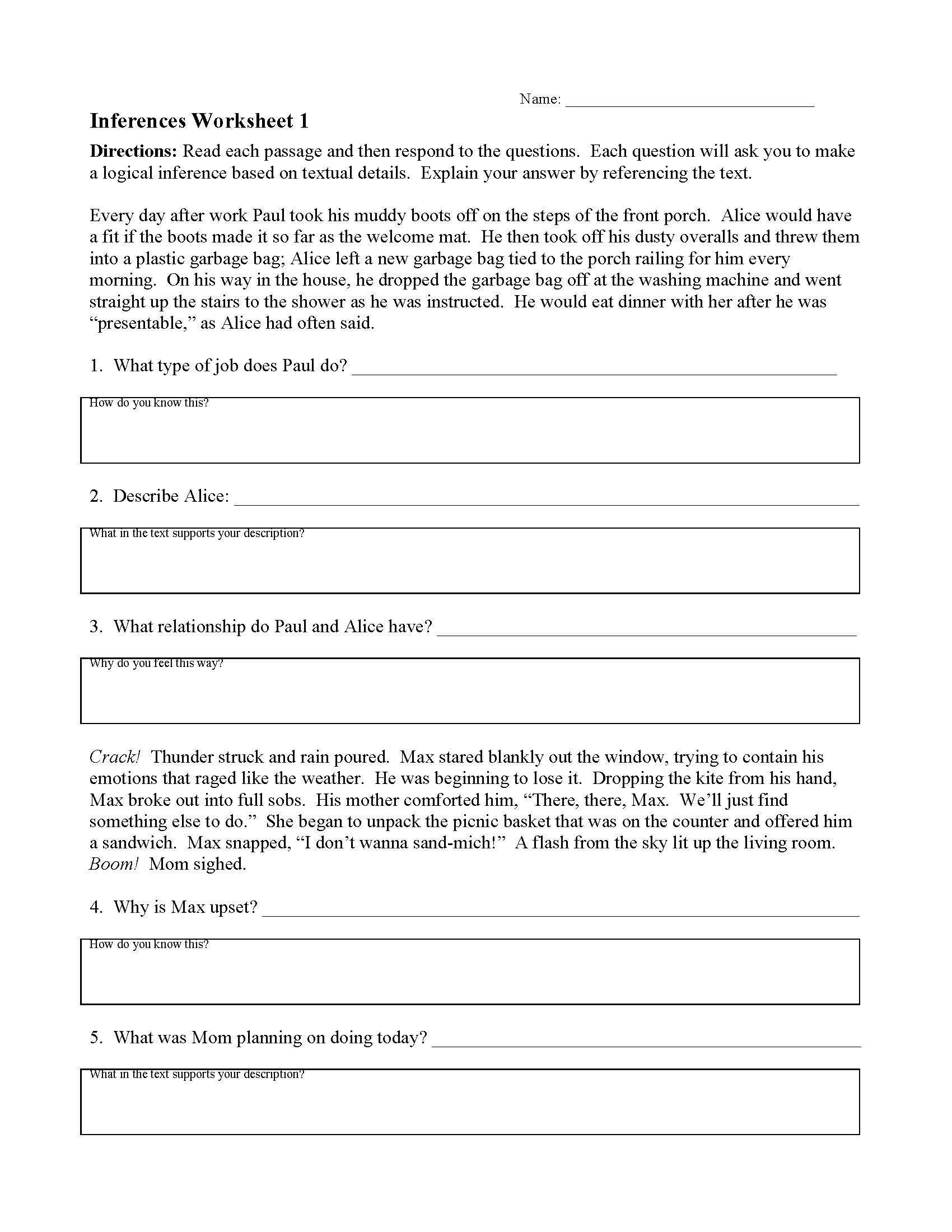 Citing Textual Evidence Worksheet Inferences Worksheets