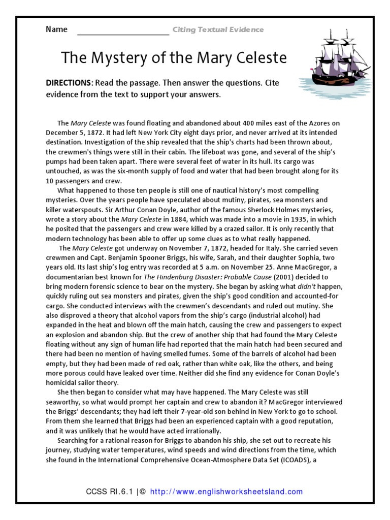 Citing Textual Evidence Worksheet Support Mary Celeste Mystery Ships