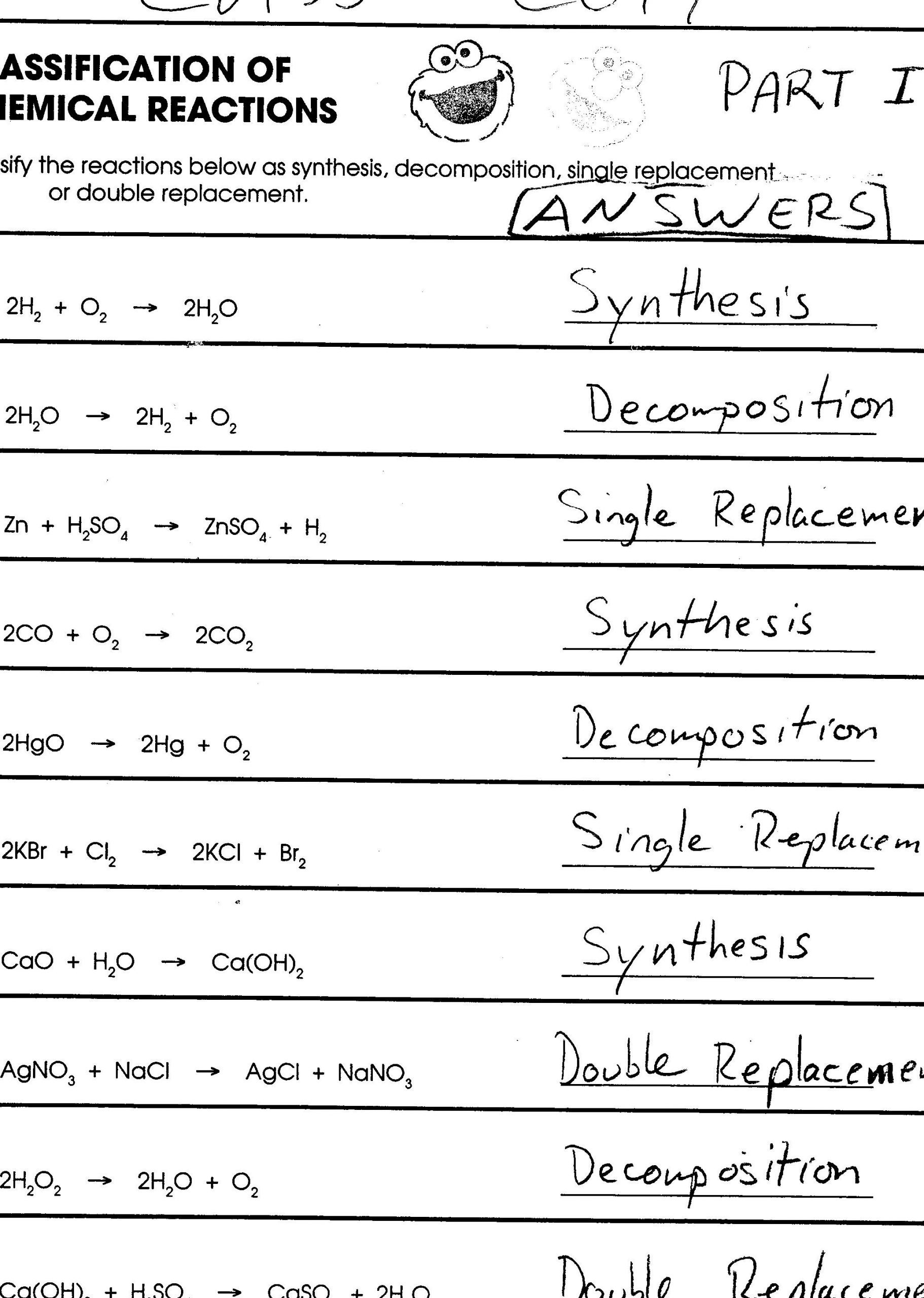 Classification Of Chemical Reactions Worksheet 10 Classifying Chemical Reactions Worksheet Answers