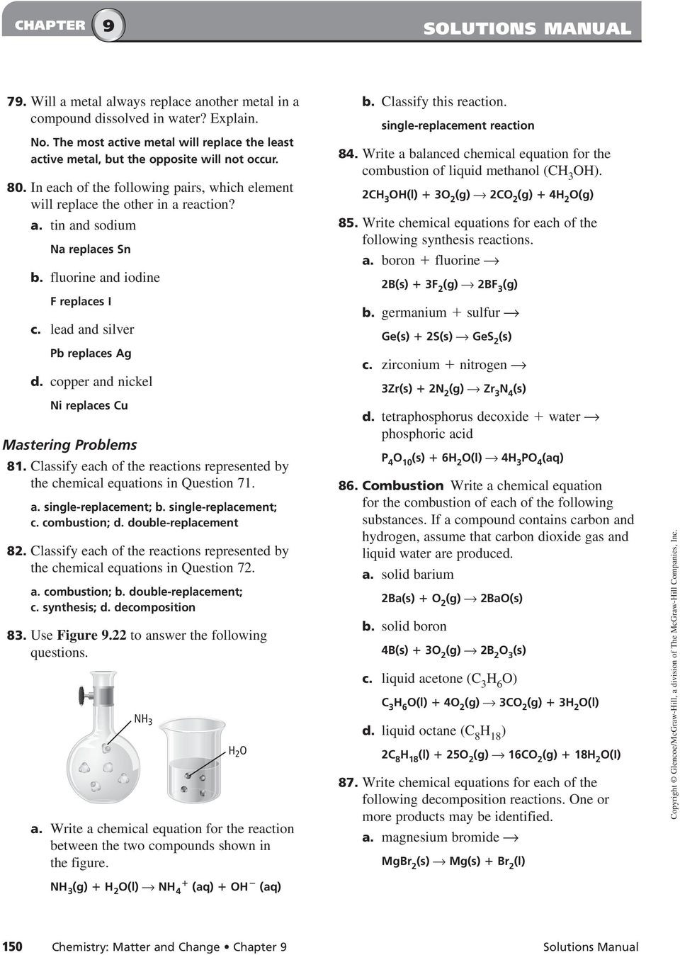 Classification Of Chemical Reactions Worksheet Chemical Reactions Section 9 1 Reactions and Equations
