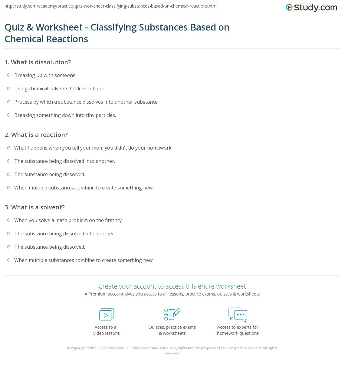 Classification Of Chemical Reactions Worksheet Quiz & Worksheet Classifying Substances Based On Chemical