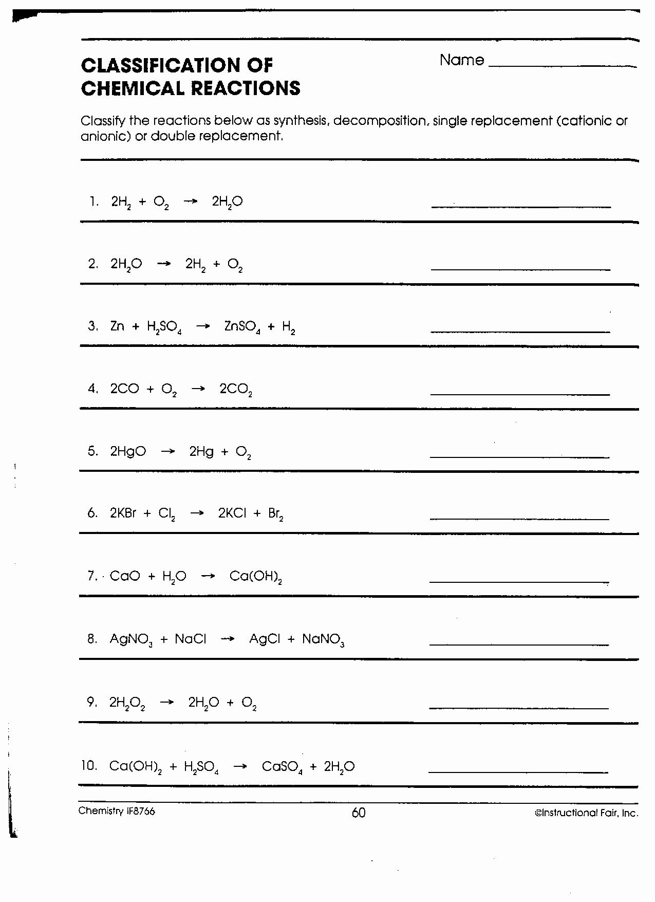 Classification Of Chemical Reactions Worksheet Six Types Reactions Worksheet