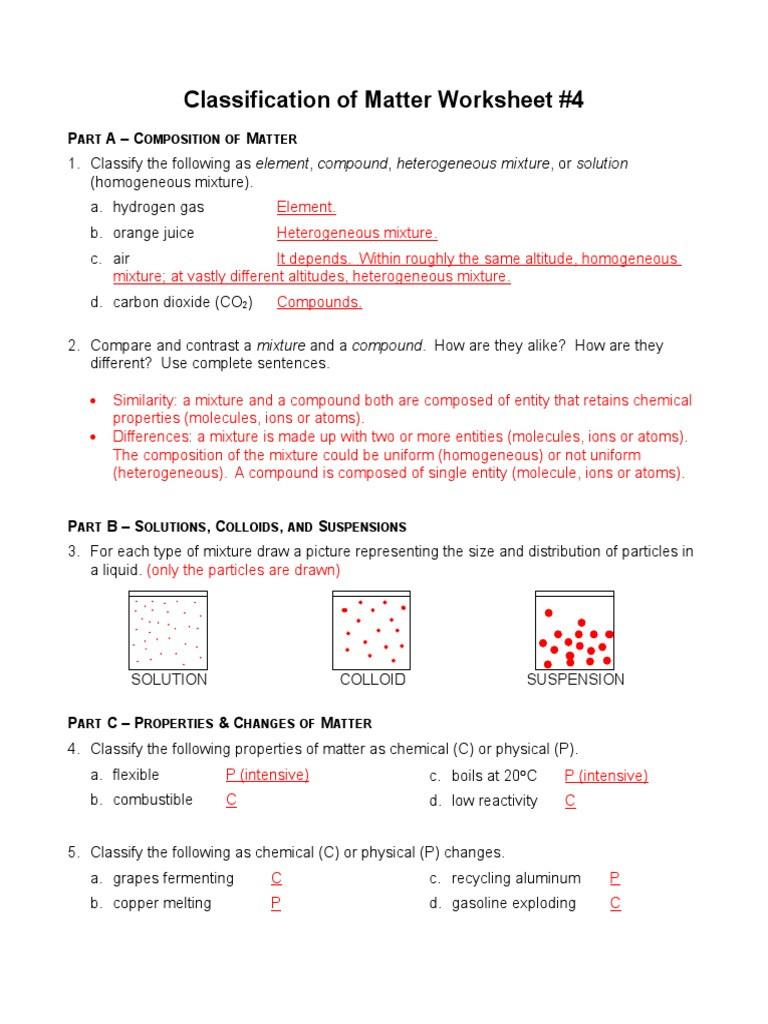 Classifying Matter Worksheet Answers Classification Of Matters Worksheet 4 Answersc