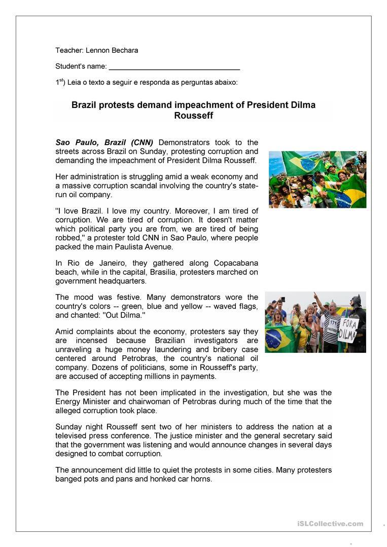 Cnn Students News Worksheet Brazil Protests Reading Prehension Activity English