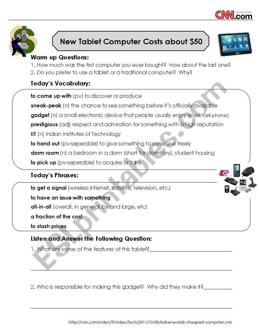 Cnn Students News Worksheet Cnn News Listening and Discussion $50 Tablet Puter