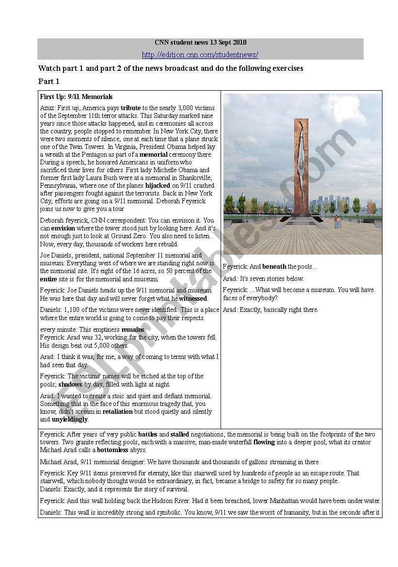 Cnn Students News Worksheet Cnn Student News 13th Sept 2010 Part 1 Esl Worksheet by