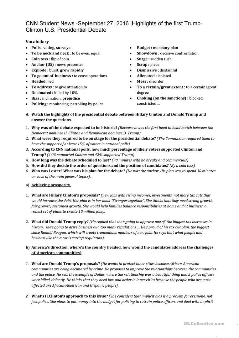 Cnn Students News Worksheet Cnn Student News September 27 2016 Highlights Of the