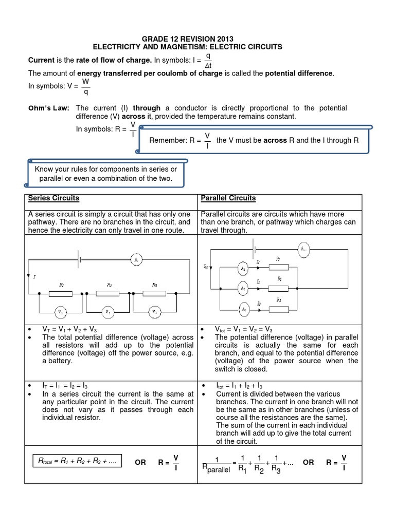 Combination Circuits Worksheet with Answers 2013 Revision Document Electric Circuits 1 Volt