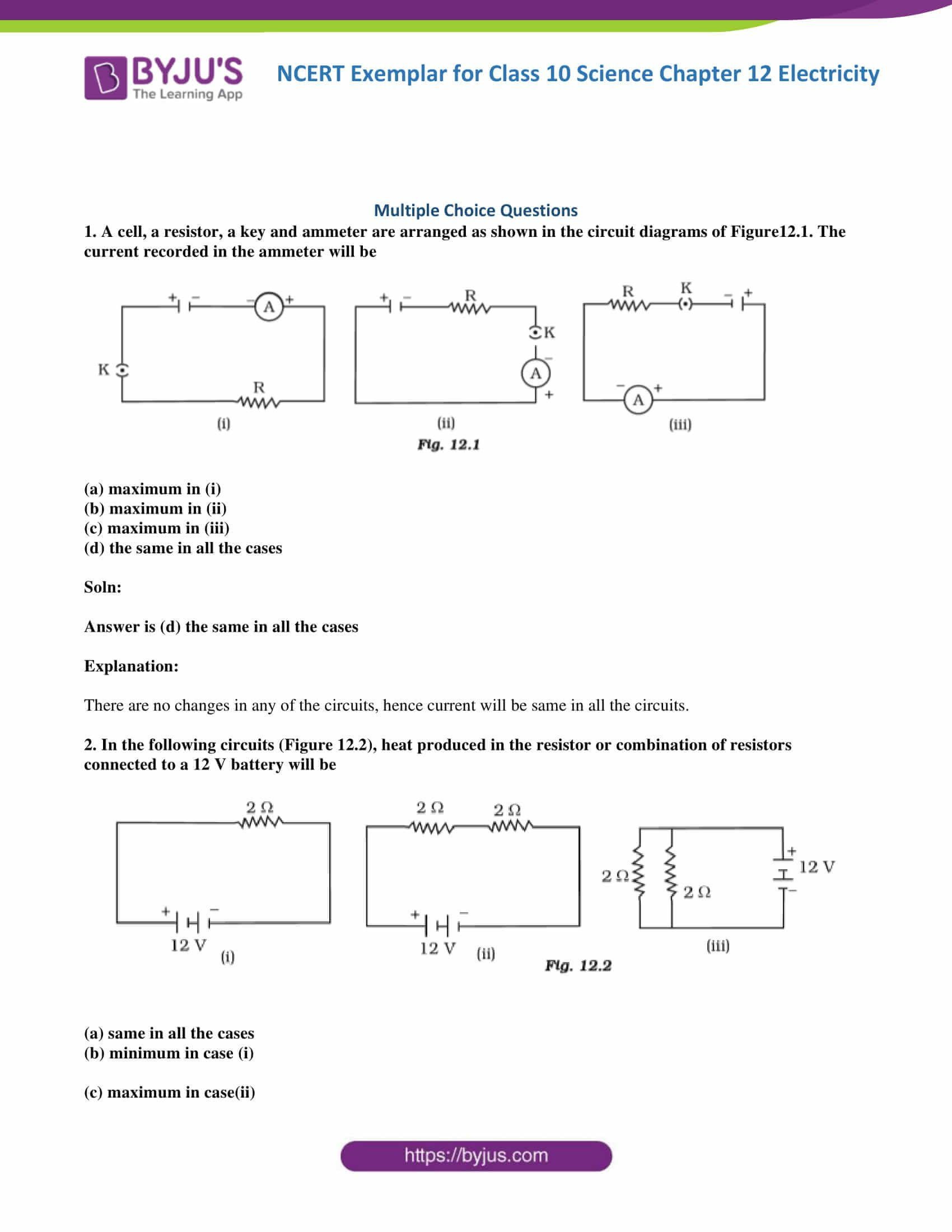 Combination Circuits Worksheet with Answers Bination Circuits Worksheet with Answers Ncert Exemplar