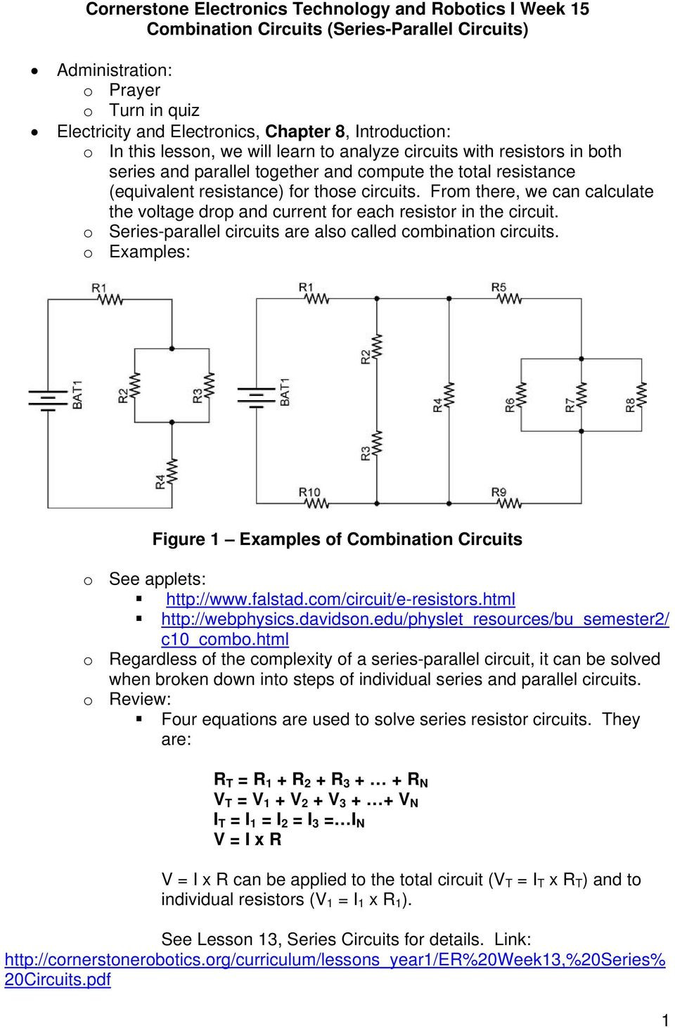 Combination Circuits Worksheet with Answers Cornerstone Electronics Technology and Robotics I Week 15