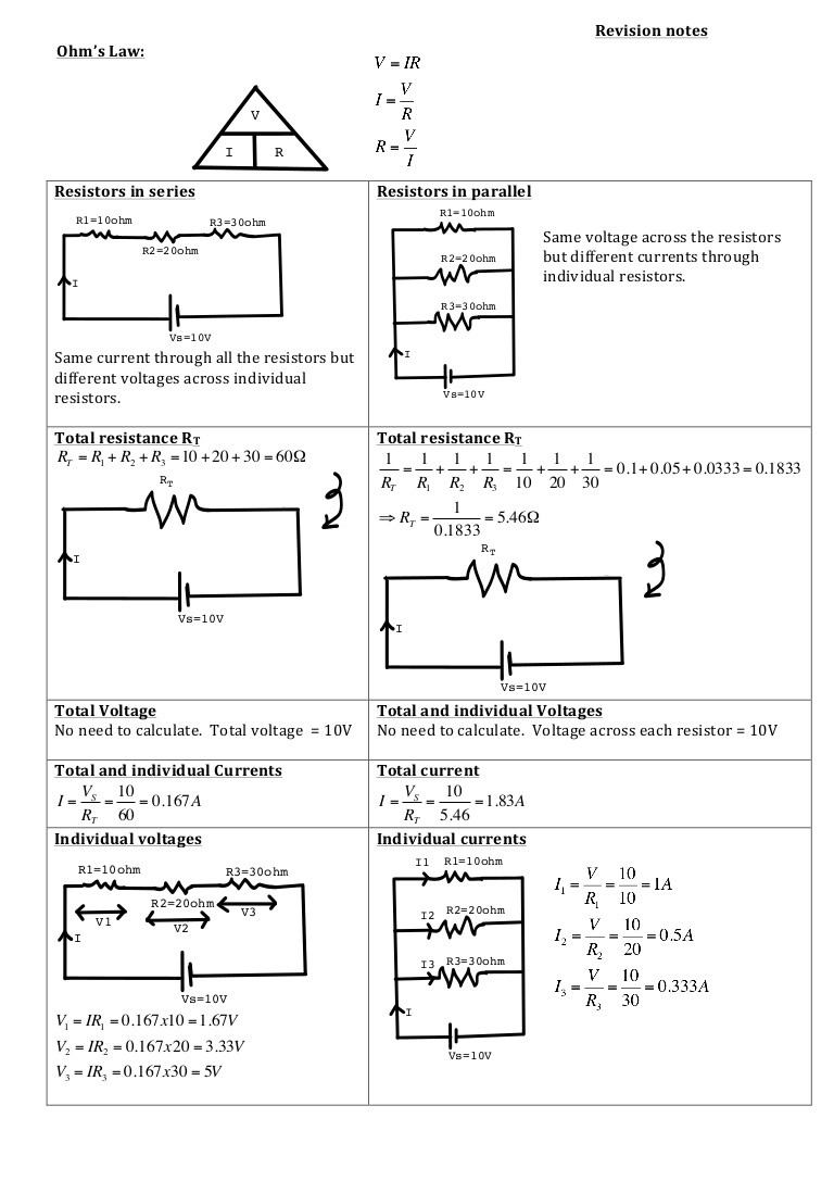 Combination Circuits Worksheet with Answers Ohm S Law Resistors In Series or In Parallel