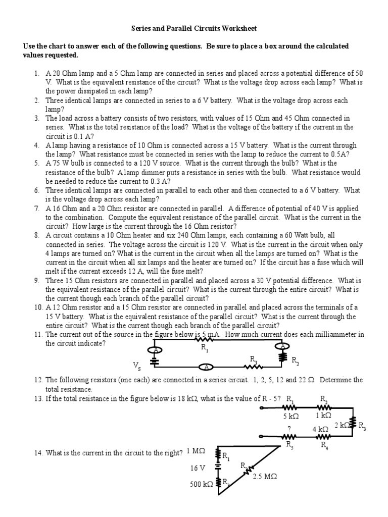 Combination Circuits Worksheet with Answers Series and Parallel Problems Worksheet 0910