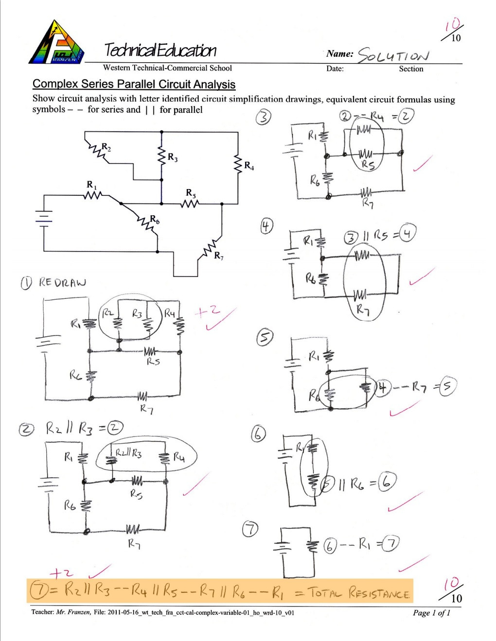 Combination Circuits Worksheet with Answers Unit 1 Puter Engineering Technology Robotics and