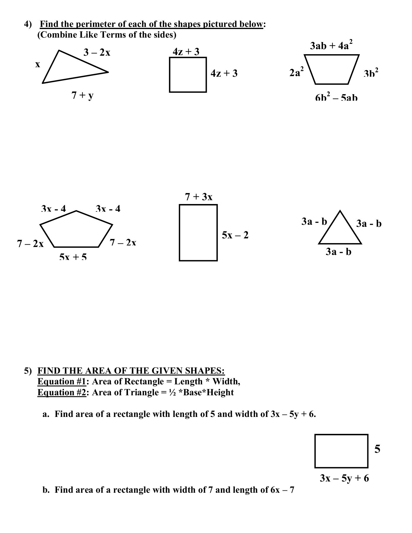 Combining Like Terms Equations Worksheet Cc Math 1 Standards Unit 2 Name Bine Like Terms and