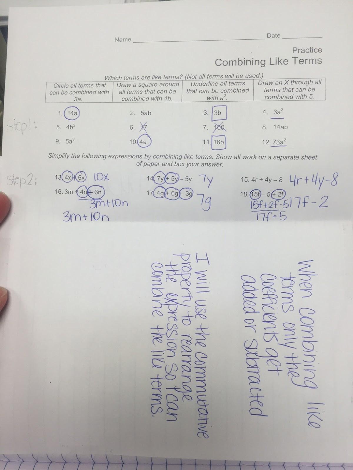 Combining Like Terms Practice Worksheet 33 Bining Like Terms Practice Worksheet Answers