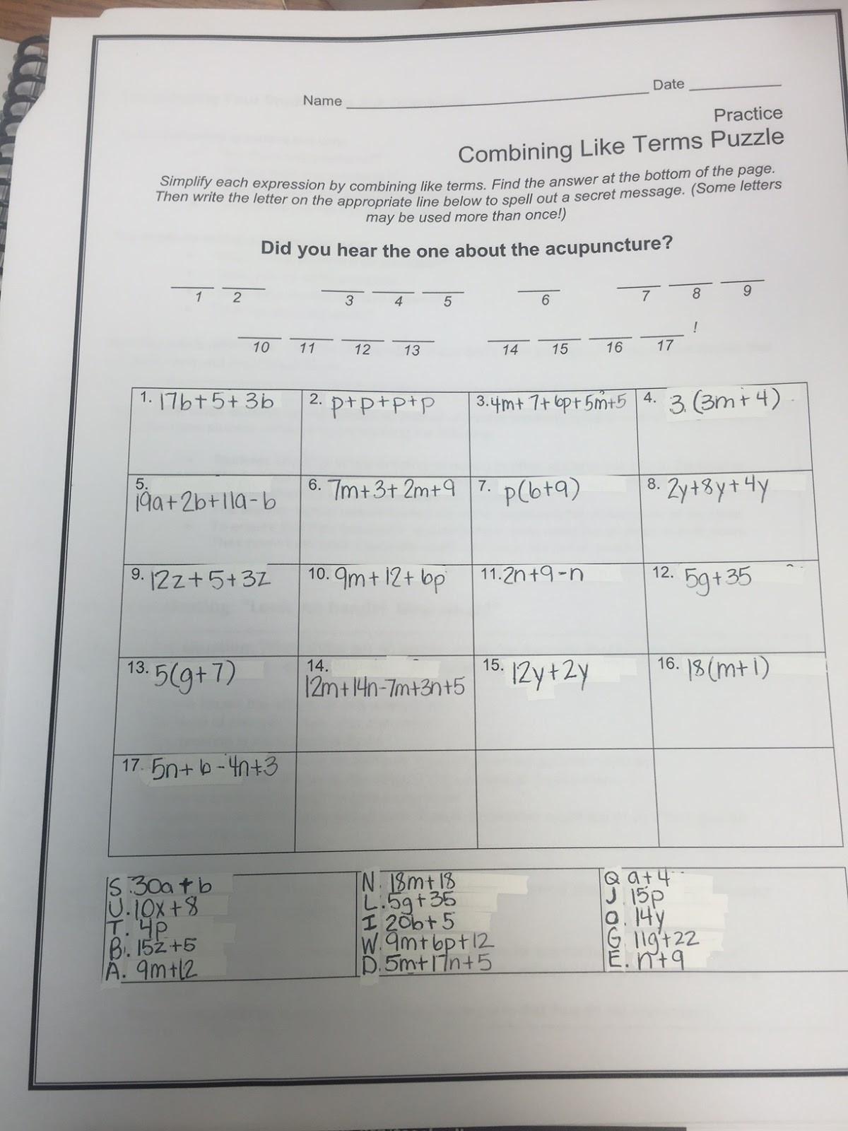 Combining Like Terms Practice Worksheet Bining Like Terms Addition Worksheet