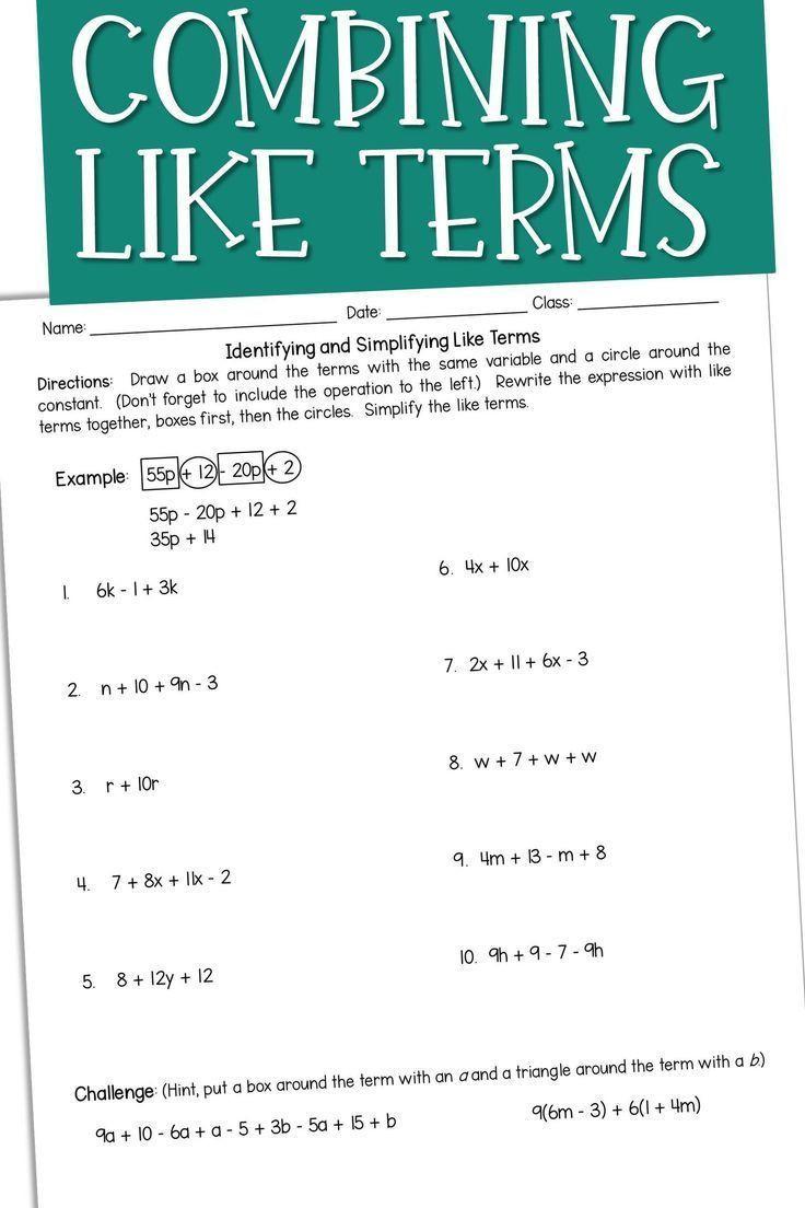 Combining Like Terms Practice Worksheet Bining Like Terms