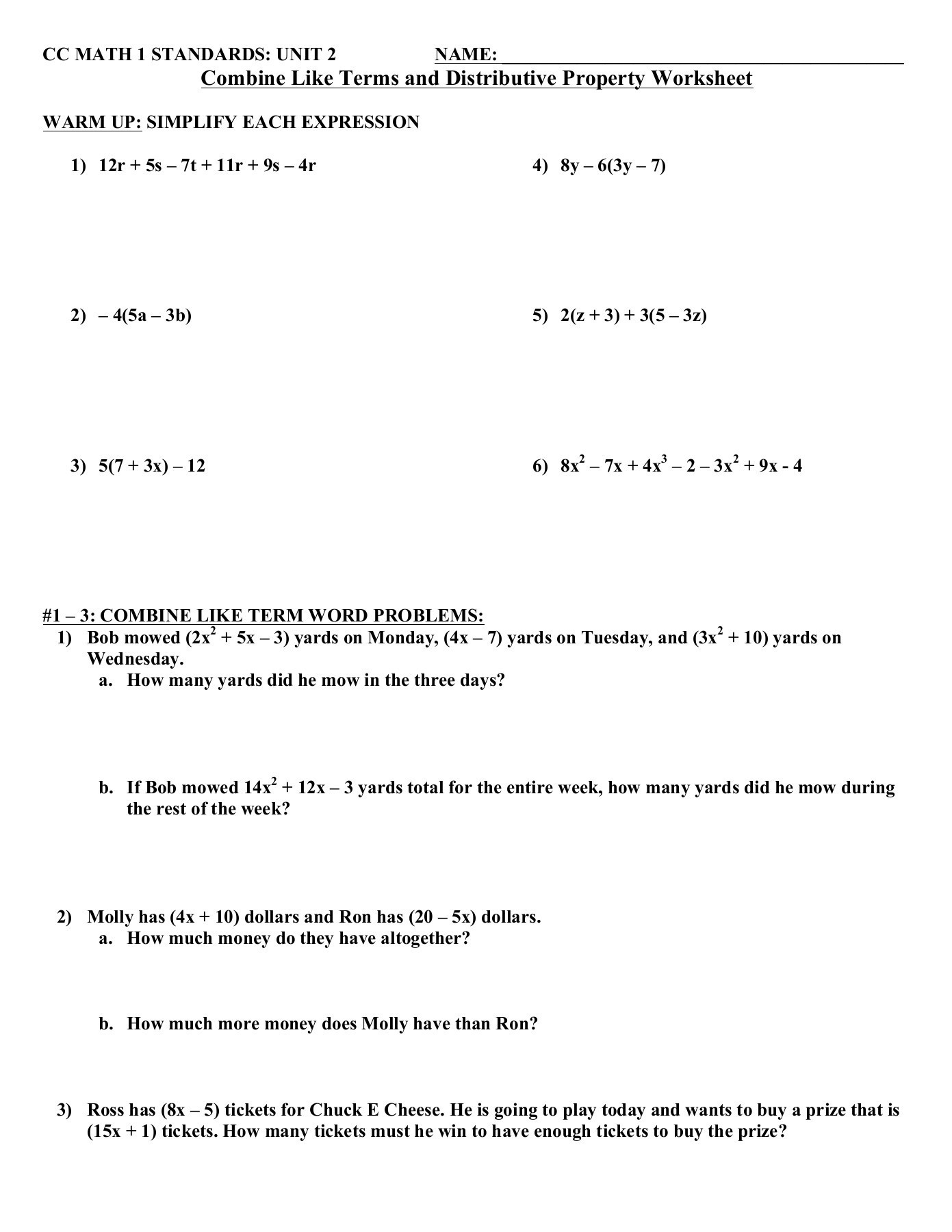 Combining Like Terms Worksheet Answers Bine Like Terms and Distributive Property Worksheet Pages