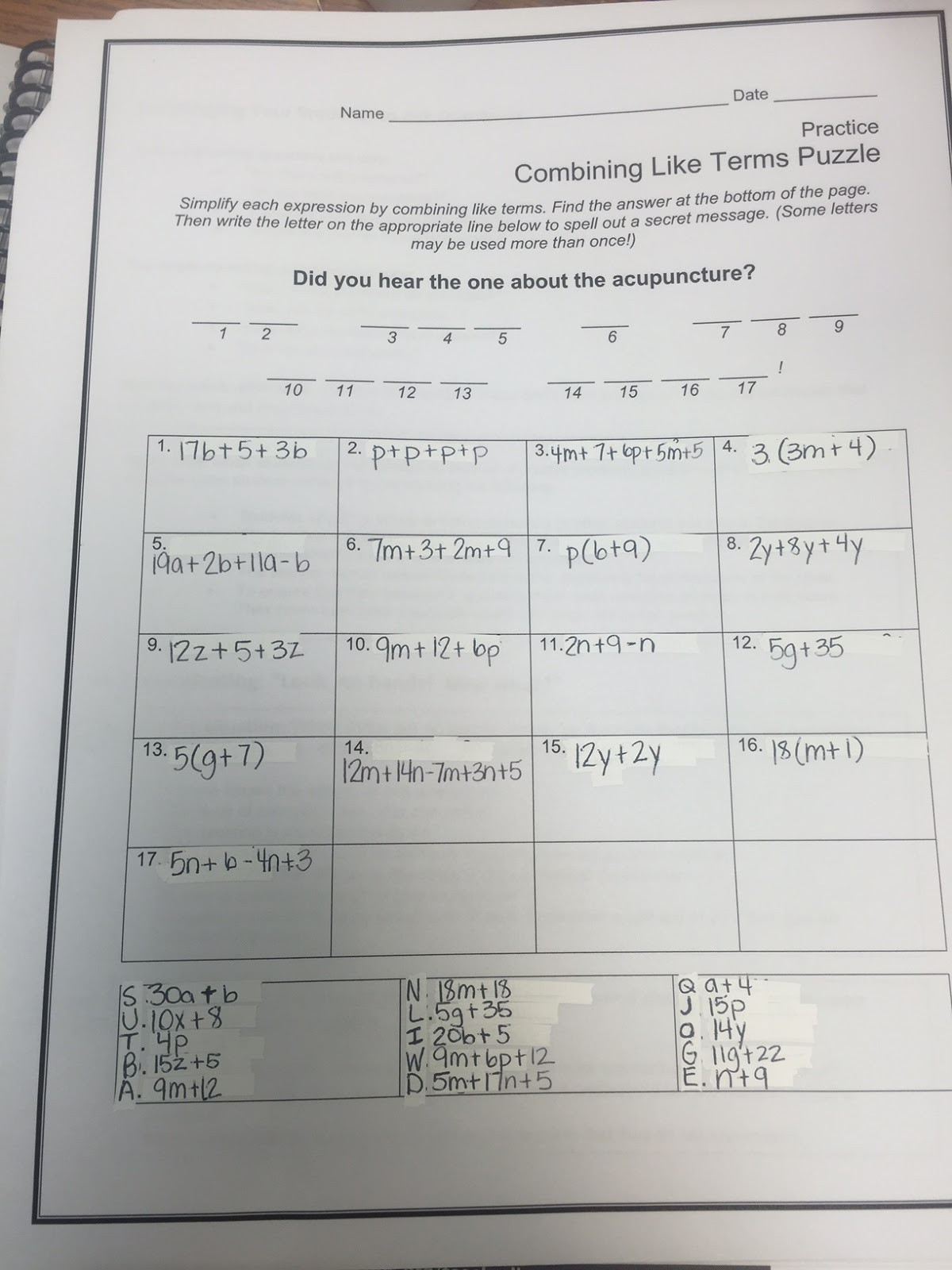 Combining Like Terms Worksheet Answers Bining Like Terms Addition Worksheet