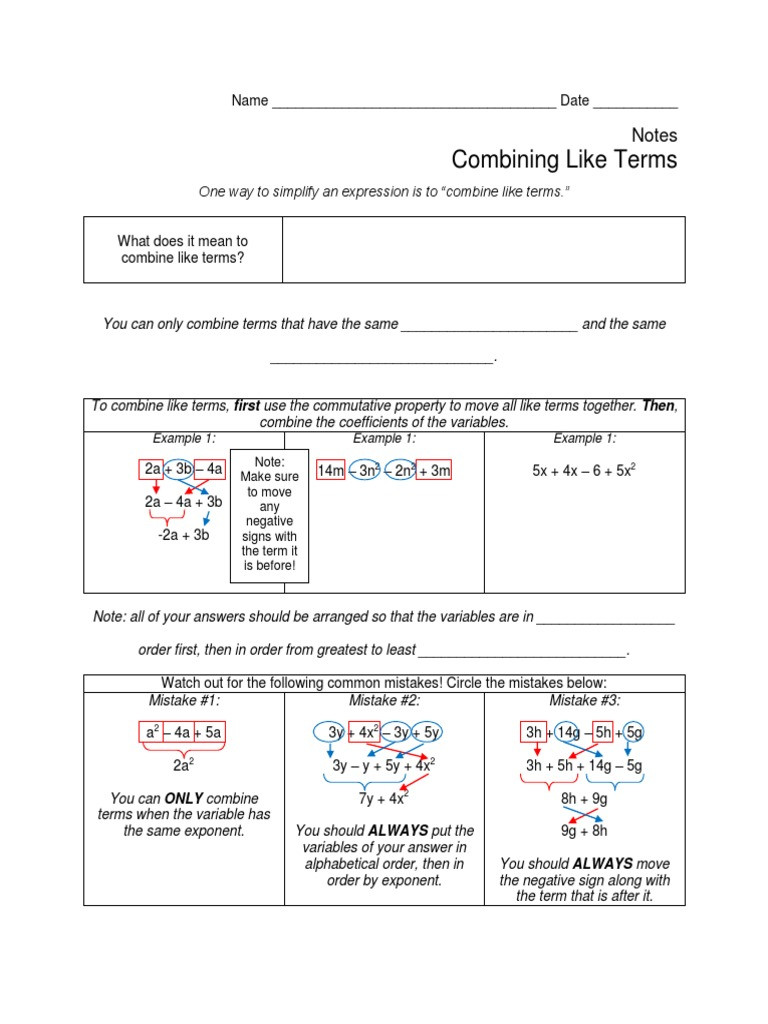 Combining Like Terms Worksheet Answers Bining Like Terms Algebra