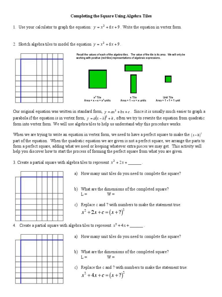 Complete the Square Worksheet Plete the Square Worksheet