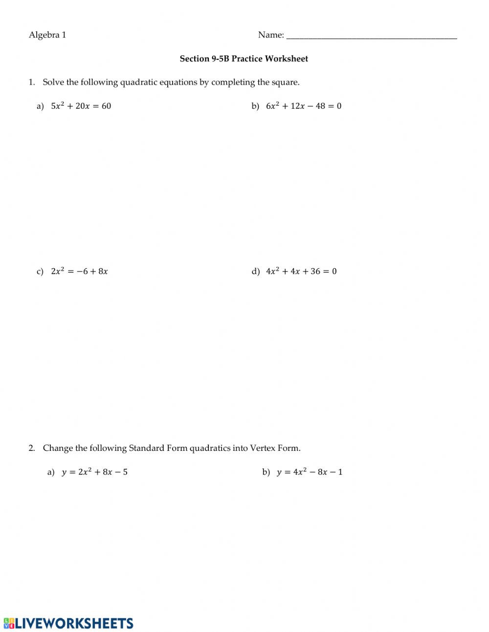 Complete the Square Worksheet solving Quadratics by Pleting the Square Interactive