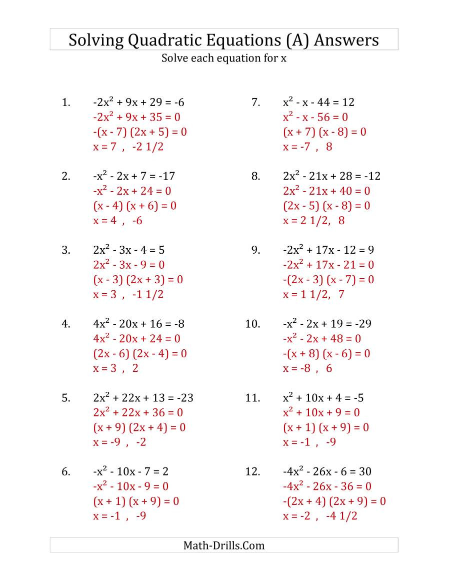 Completing the Square Practice Worksheet solving Quadratic Equations for X with A Coefficients