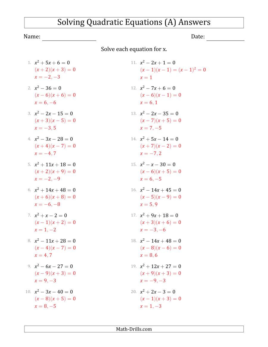Completing the Square Practice Worksheet solving Quadratic Equations with Positive A Coefficients