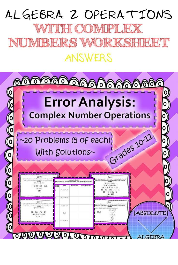 Complex Numbers Worksheet Answers Algebra 2 Operations with Plex Numbers Worksheet Answers