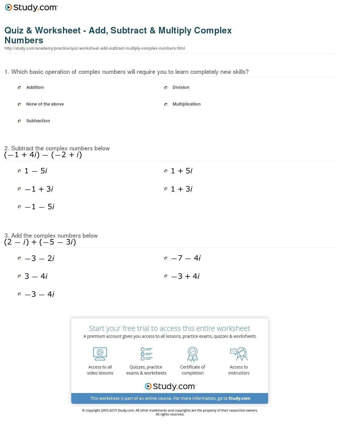 Complex Numbers Worksheet Answers Plex Numbers Worksheet